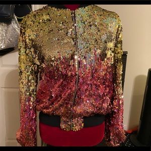 Sequin Bomber Jacket w/. Lining NWT